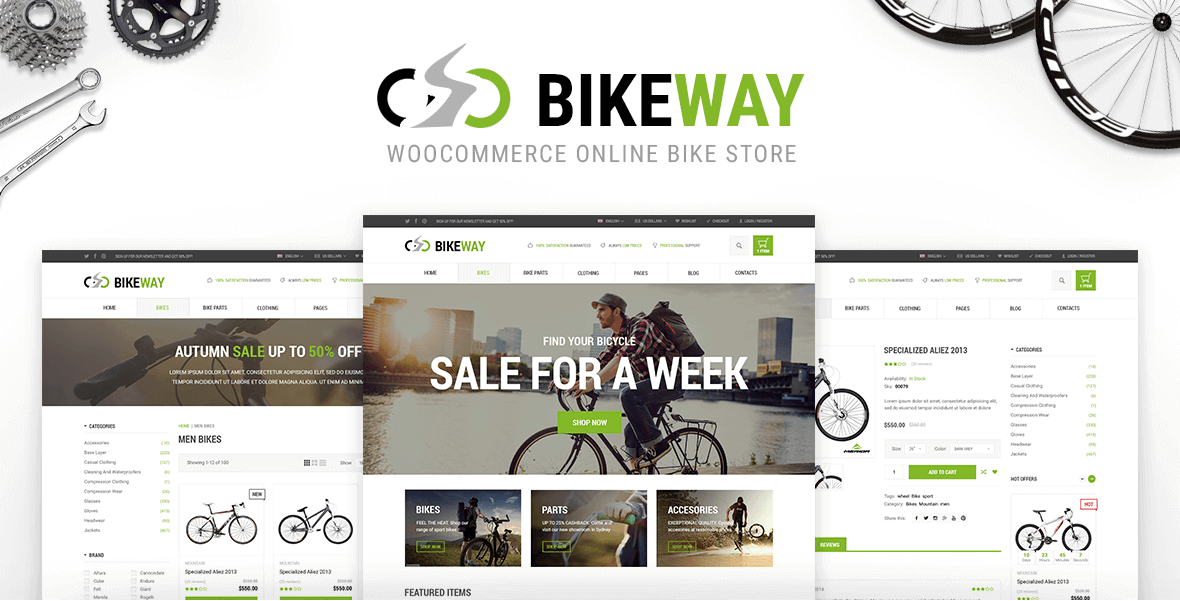 BikeWay WordPress Bicycle Shop Theme