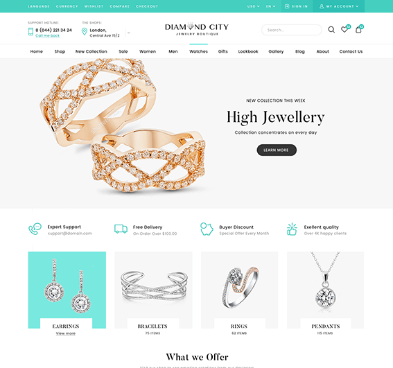 Jewelry Elementor WordPress Theme