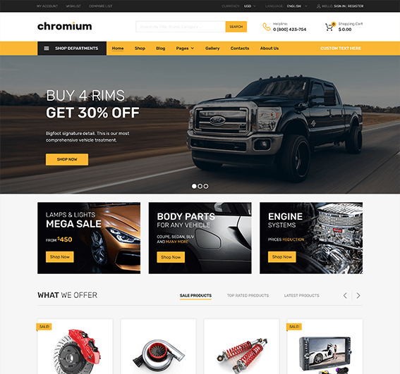 Auto Parts WordPress Theme – Chromium
