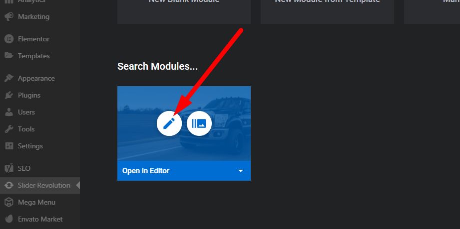 Enter slider options