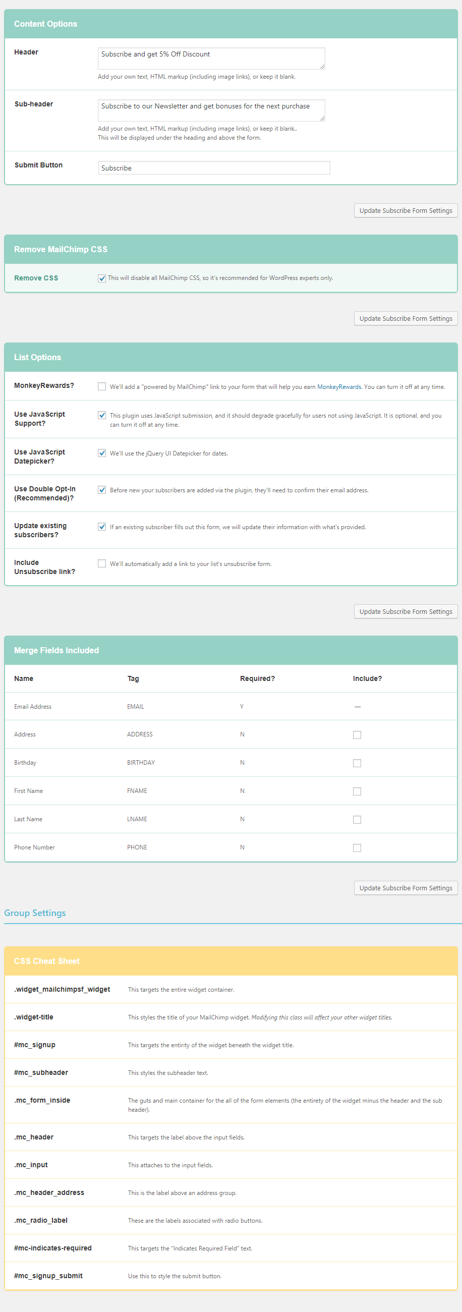 Copy these settings to match the demo sign up form