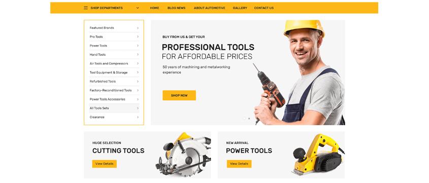 Tools Shop Demo Data Set for Chromium WordPress Theme