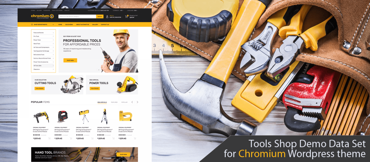 Tools Shop Demo Data Set for Chromium WordPress Theme